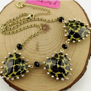 Leopard print crystal heart necklace